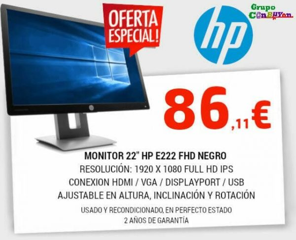 "OFERTA - MONITOR HP 22"" E222 FHD HDMI-VGA-DP-HUB USB"