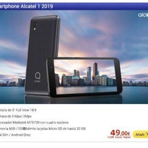"SMARTPHONE MÓVIL ALCATEL 1 2019 BLACK - 5""/12.7CM - QC MEDIATEK MT6739 - 1GB RAM - 8GB - CAM 5MPX - ANDROID OREO GO - 4G - DUAL SIM - BAT 2000MAH"
