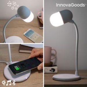 lampara led con altavoz y cargador inalambrico akalamp innovagoods