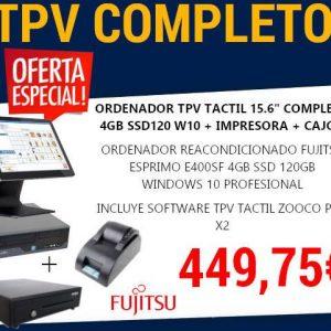 """ORDENADOR TPV TACTIL 15.6"""" COMPLETO 4GB SSD120 W10 FUJITSU"""
