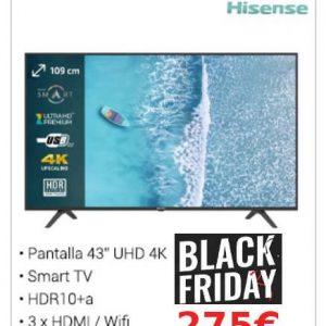 "TELEVISOR LED HISENSE H43B7100 - 43""/109CM UHD 4K 3840*2160 - HDR10- DVB-T2/T/C/S2/S - SMART TV - AUDIO 2*7W - WIFI - 3*HDMI - 2*USB - MODO HOTEL"